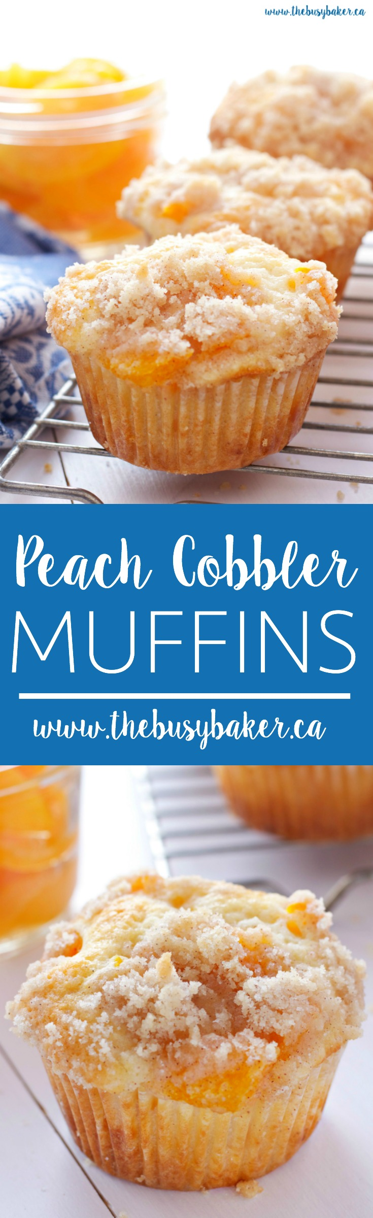 These Peach Cobbler Muffins are the perfect sweet snack! This is such an easy recipe that taste's just like Grandma's peach cobbler! And the best part? They're even easier to make than a traditional cobbler and have the perfect crumble topping! Recipe from thebusybaker.ca! #peachcobbler #peachcobblermuffins #peachmuffins via @busybakerblog