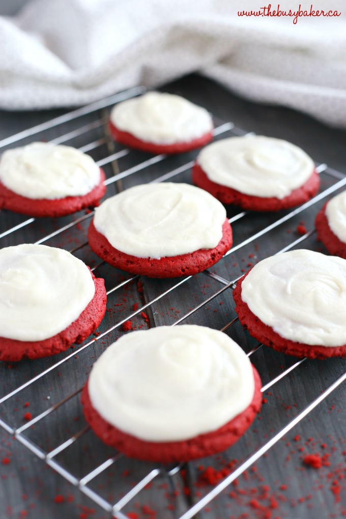 These Soft and Chewy Red Velvet Sugar Cookies are the perfect easy cookie recipe for Valentine's Day, Christmas, or any festive time of year. They're bright and colourful, gorgeous, delicious, and simple to make with only a few ingredients! Recipe from thebusybaker.ca! #cakemixcookies #redvelvetcookies #easyredvelvetrecipe #redvelvet