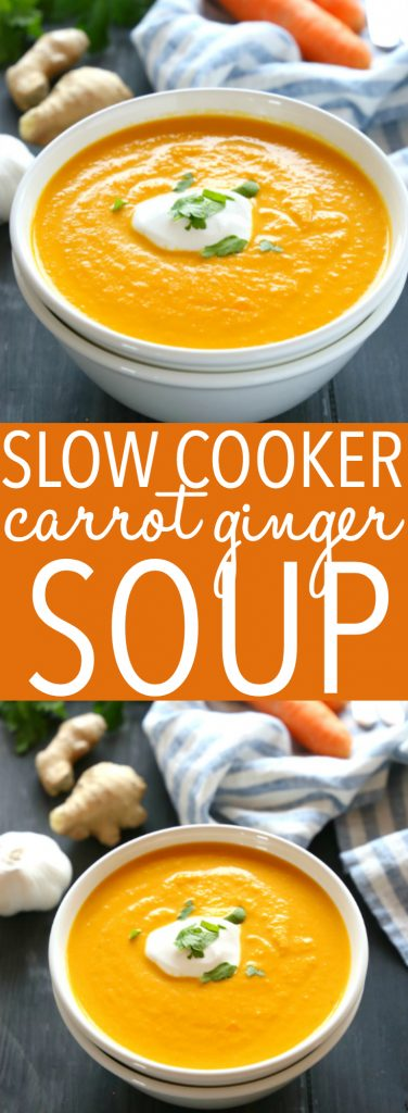 This Slow Cooker Creamy Carrot Ginger Soup is the easiest carrot soup that's warm, hearty, and packed with spicy ginger and creamy coconut. It's healthy, made with only a few simple ingredients, and it's so easy to make in the Crock Pot or slow cooker!! Recipe from thebusybaker.ca! #slowcookersoup #dairyfreesoup