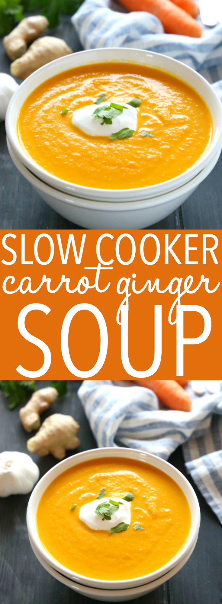 This Slow Cooker Creamy Carrot Ginger Soup is the easiest carrot soup that's warm, hearty, and packed with spicy ginger and creamy coconut. It's healthy, made with only a few simple ingredients, and it's so easy to make in the Crock Pot or slow cooker!! Recipe from thebusybaker.ca! #slowcookersoup #dairyfreesoup via @busybakerblog