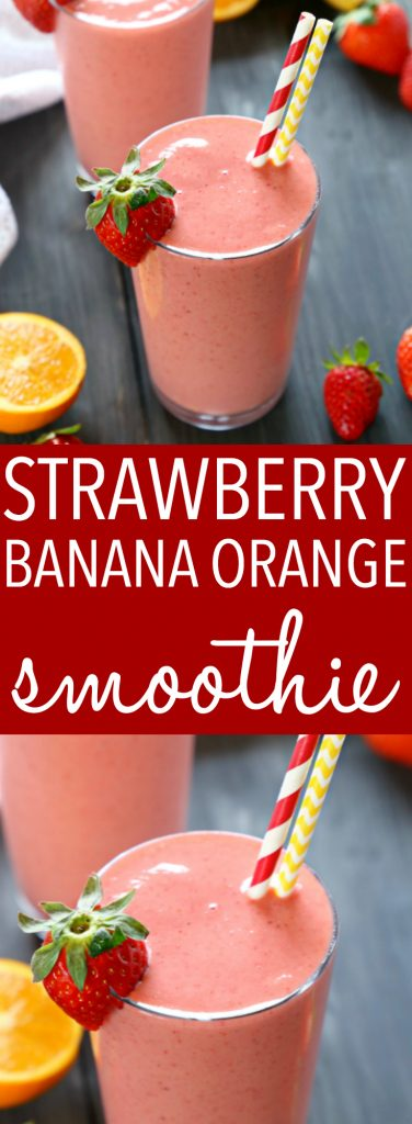 This Strawberry Banana Orange Smoothie is the perfect fruit smoothie packed with berries, bananas, and juicy oranges! It makes a great breakfast or post-workout drink, and it's the perfect mid-afternoon pick-me-up snack! Recipe from thebusybaker.ca! #workoutsmoothie #easysmoothie #healthysmoothie #strawberrysmoothie