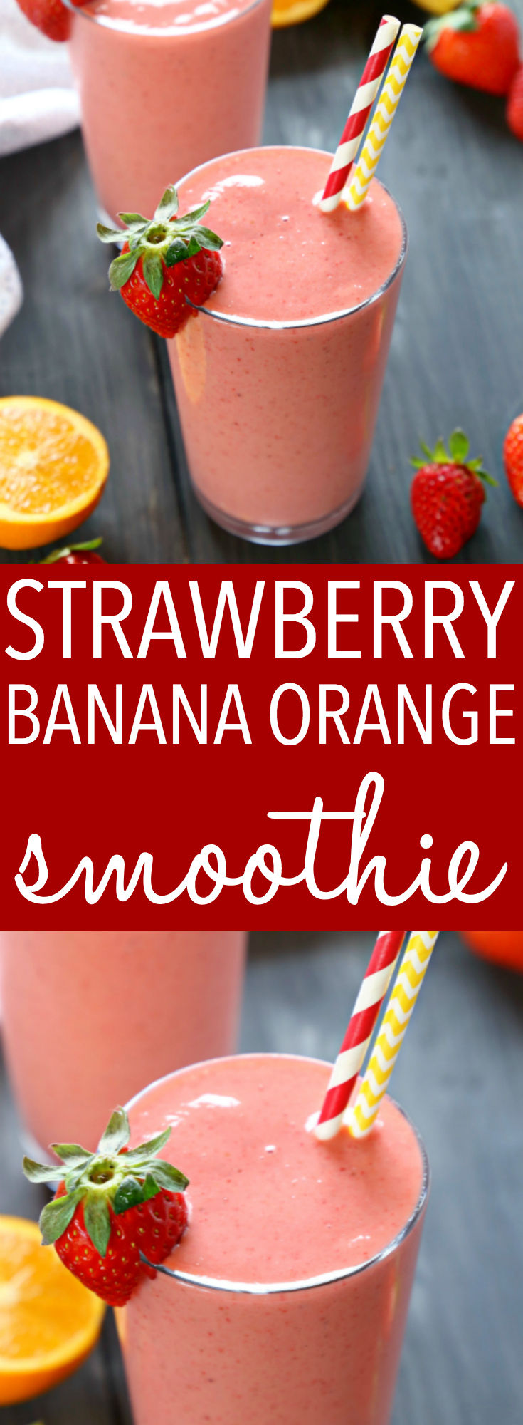 This Strawberry Banana Orange Power Smoothie is the perfect fruit smoothie packed with berries, bananas, and juicy oranges! It makes a great breakfast or post-workout drink, and it's the perfect mid-afternoon pick-me-up snack! Recipe from thebusybaker.ca! #workoutsmoothie #easysmoothie #healthysmoothie #strawberrysmoothie via @busybakerblog