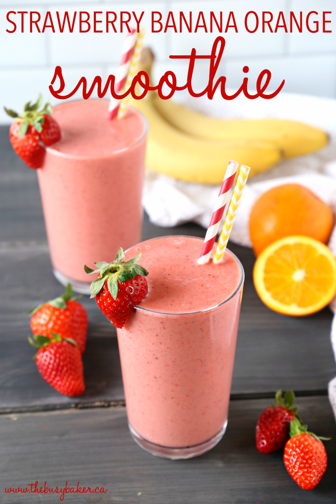 This Strawberry Banana Orange Power Smoothie is the perfect fruit smoothie packed with berries, bananas, and juicy oranges! It makes a great breakfast or post-workout drink, and it's the perfect mid-afternoon pick-me-up snack! Recipe from thebusybaker.ca! #workoutsmoothie #easysmoothie #healthysmoothie #strawberrysmoothie