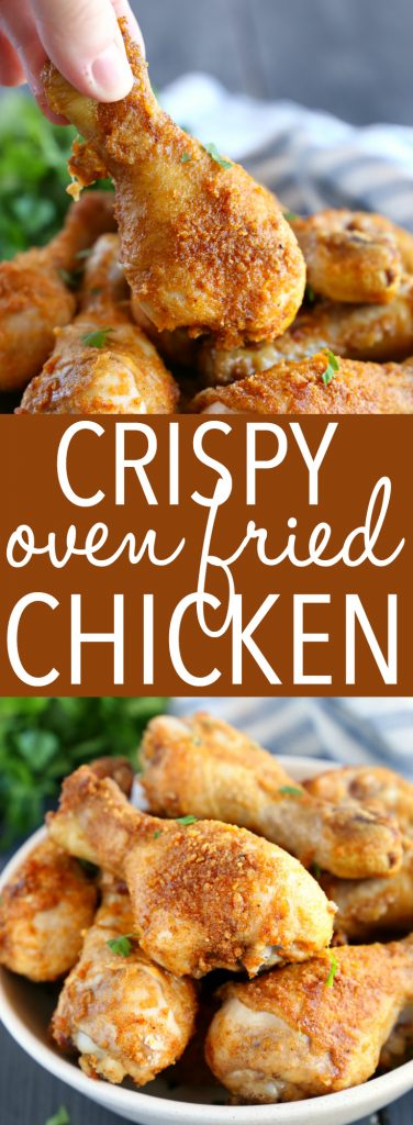 This Crispy Oven Fried Chicken is baked to crispy perfection in the oven with a delicious balance of herbs and spices! It's easy to make, lower in fat, and tastes just like fried chicken! And it's ready in under 30 minutes! Recipe from thebusybaker.ca! #ovenbakedchicken #crispychicken #healthychicken #ovenfriedchicken #copycatfriedchicken