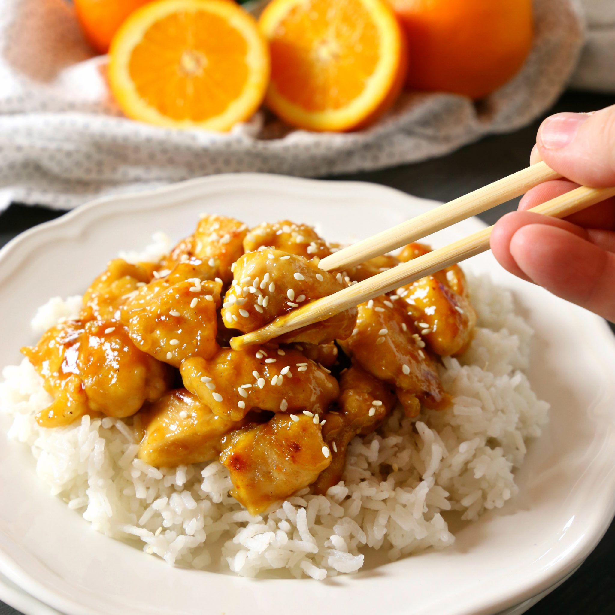 Easy Healthier Sesame Orange Chicken - The Busy Baker