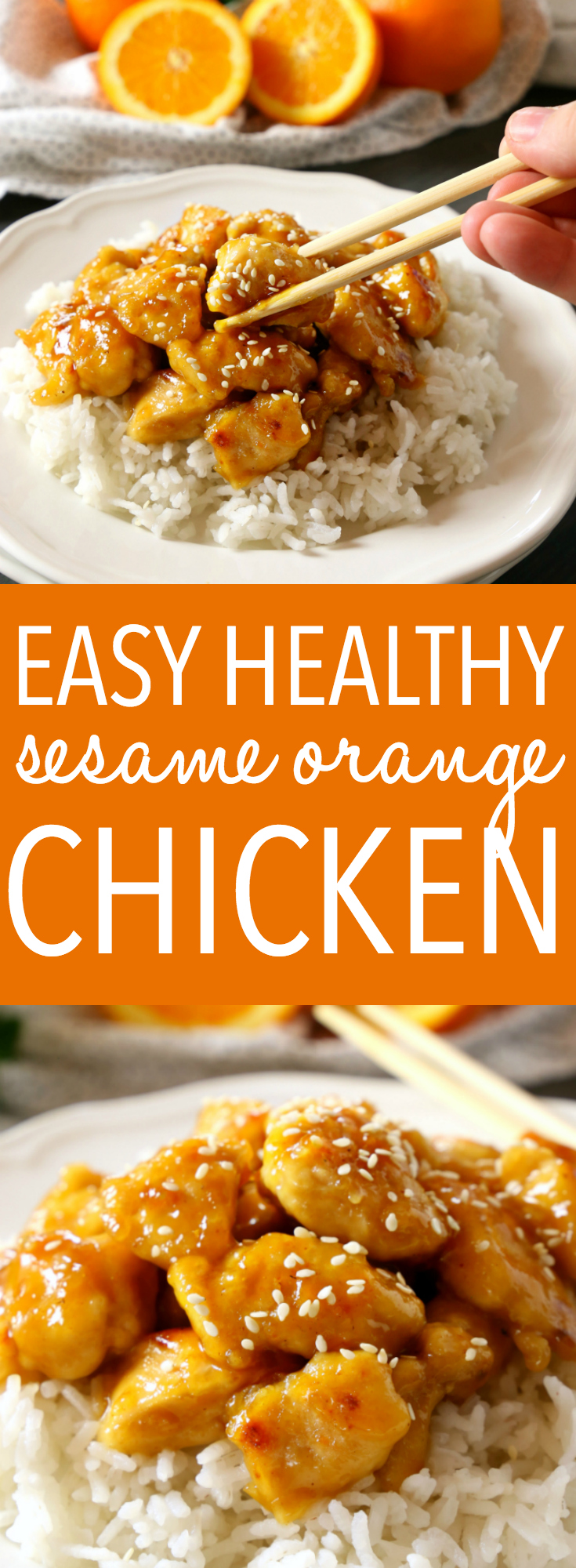 This Easy Healthier Sesame Orange Chicken is the perfect Asian-inspired weeknight meal that's better than take-out and a healthy choice for the whole family! Make it in 15 minutes or less! Recipe from thebusybaker.ca! #orangechicken #easystirfry #weeknightmeal #15minutemeal via @busybakerblog