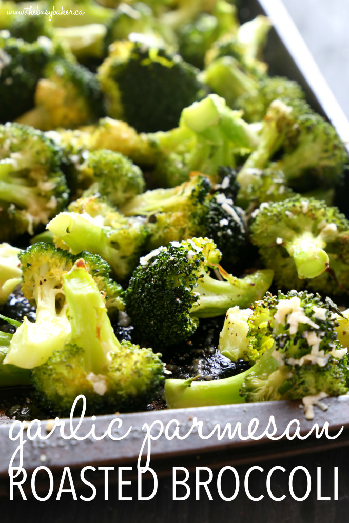 This Garlic Parmesan Roasted Broccoli is a quick and easy side dish that's healthy and delicious, and made with only 4 simple ingredients! It's a family favourite recipe that's the perfect holiday side dish, but it's delicious any time of the year! Recipe from thebusybaker.ca! #sidedish #roastedbroccoli #garlicparmesanbroccoli #easysidedishrecipe