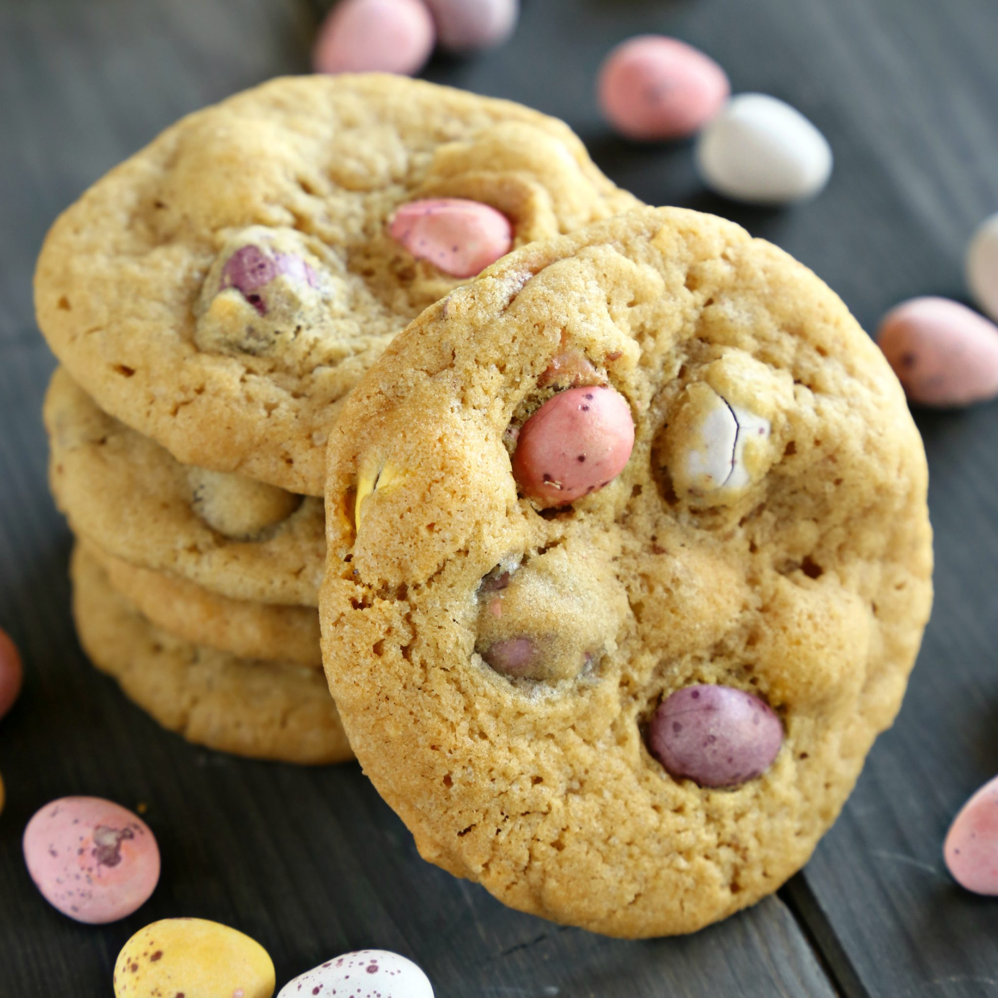mini eggs chocolate chip cookies the busy baker