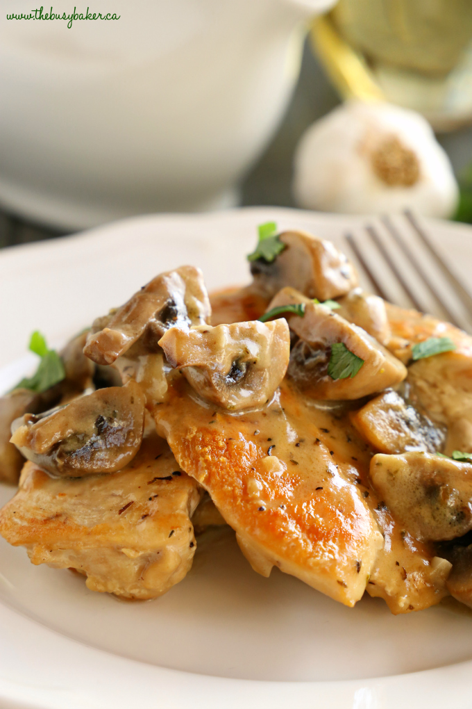 This One Pan Chicken with White Wine Mushroom Sauce is a super delicious restaurant-quality main dish that's so easy to make in only one pan! Recipe from thebusybaker.ca! #easychickenrecipe #chickenwhitewinemushroomsauce #whitewinesauce #easychickensauce