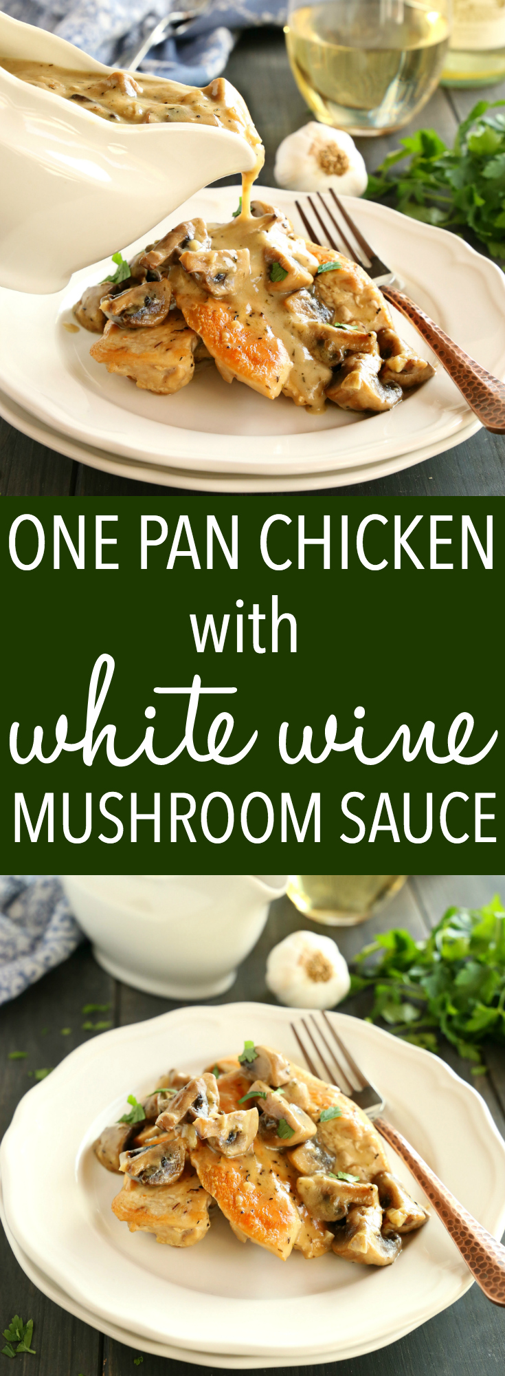 This One Pan Chicken with White Wine Mushroom Sauce is a super delicious restaurant-quality main dish that's so easy to make in only one pan! Recipe from thebusybaker.ca! #easychickenrecipe #mushroomgravy #easywhitewinesauce via @busybakerblog