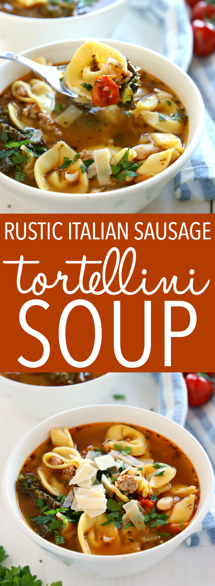 This Rustic Italian Sausage Tortellini Soup is packed with fresh, wholesome ingredients and bursting with Italian flavours. It's hearty, filling, and is so easy to make! Recipe from thebusybaker.ca! #italiansoup #tortellinisoup #rusticsoup #easysouprecipe via @busybakerblog