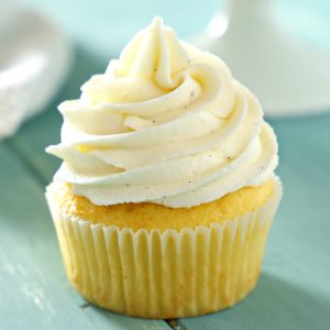 vanilla bean cupcake with vanilla buttercream frosting