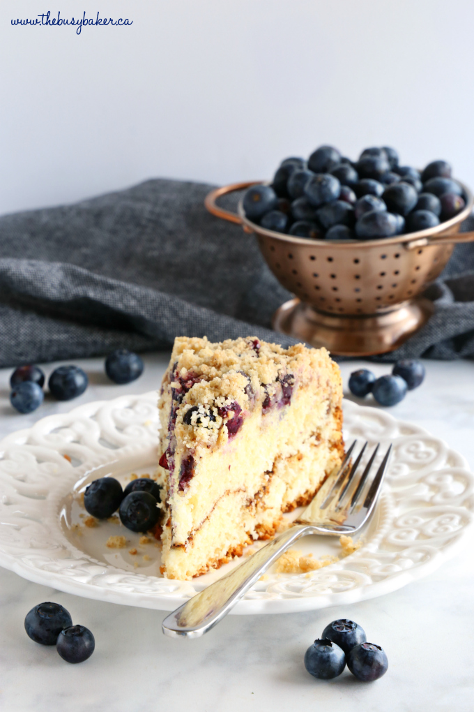 blueberry coffee cake blueberries colander slice