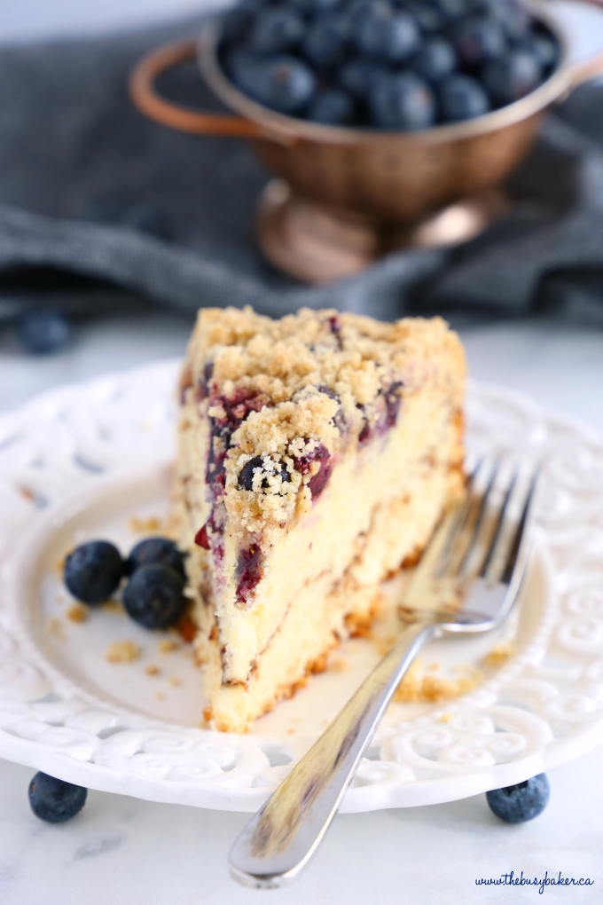blueberry streusel cake coffee cake slice