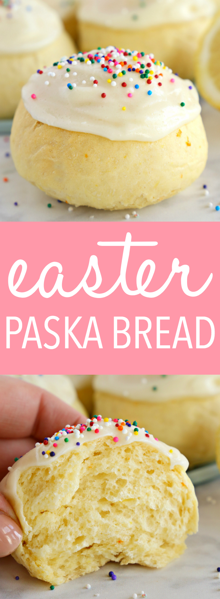 These Easter Paska Buns are the perfect sweet treat for Easter or spring! Made with a fresh citrus-infused simple sweet dough, creamy frosting and sprinkles! Recipe from thebusybaker.ca! #easterbread #easterpaskabuns #easterpaskabread via @busybakerblog