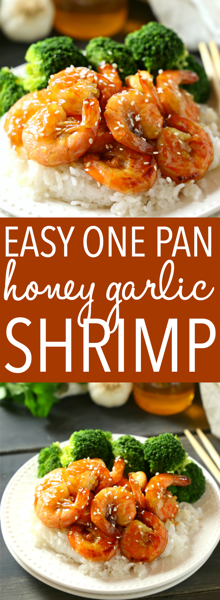 This Easy One Pan Honey Garlic Shrimp is a delicious Asian-inspired meal idea with the perfect honey garlic sauce. And it's made with simple ingredients in 15 minutes or less! Recipe from thebusybaker.ca! #easyhoneygarlicsauce #honeygarlicshrimp #15minutemeal via @busybakerblog