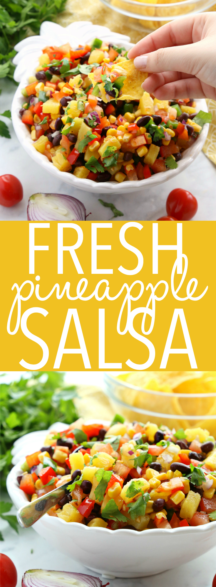 This Fresh Pineapple Salsa is the best ever healthy snack or appetizer packed with fruits and veggies - it's perfect for spring and summer barbecues! Fat free and low in calories! Recipe from thebusybaker.ca! #freshsalsa #easysalsarecipe #pineapplesalsa #fatfreesalsa via @busybakerblog