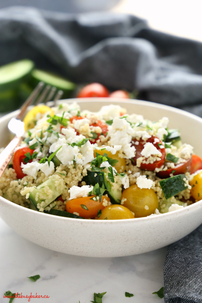 couscous salad grey towel parsley