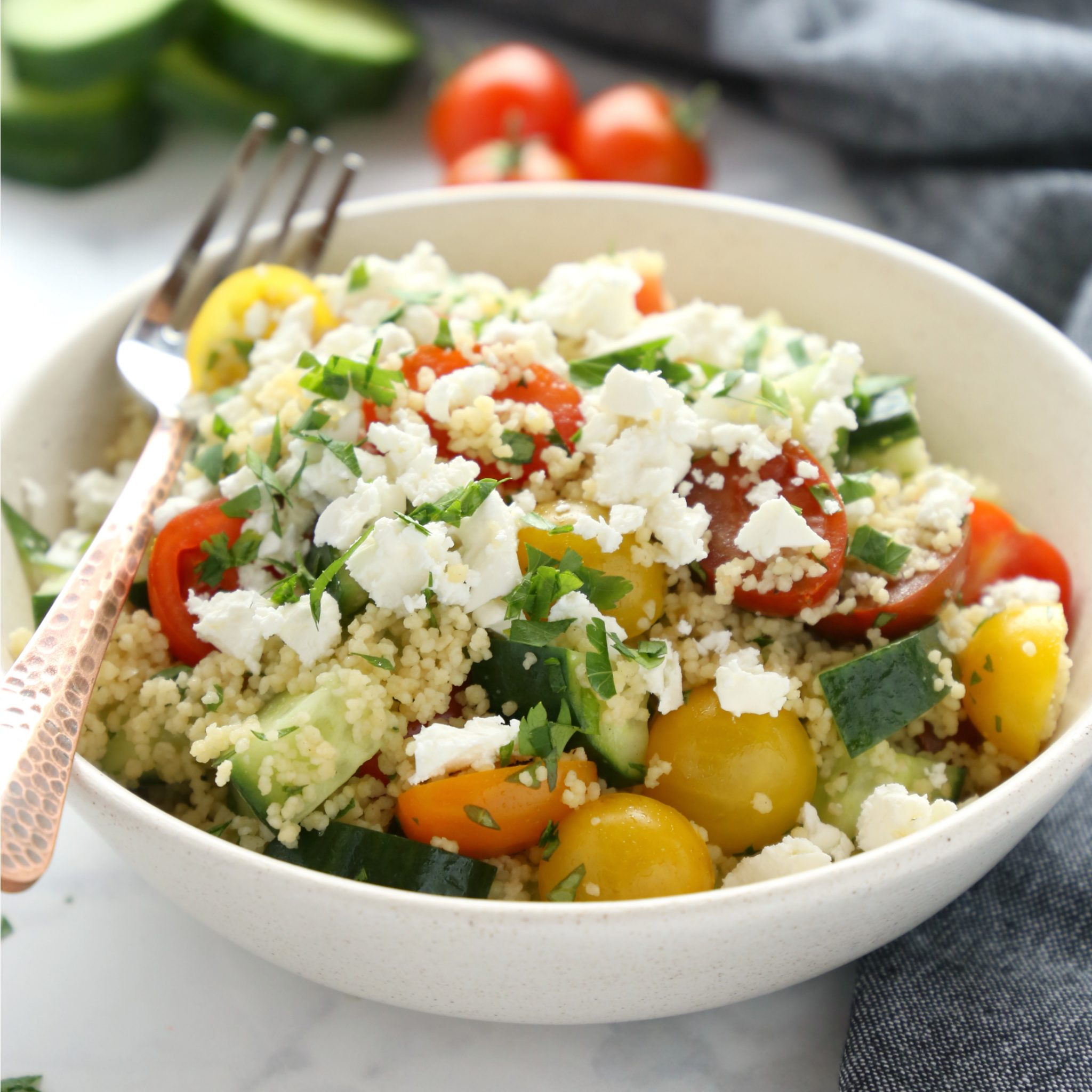 greek couscous salad lunch bowls meal prep the busy baker
