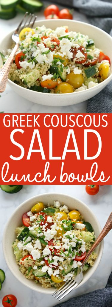 Greek Couscous Salad Lunch bowls pinterest pin