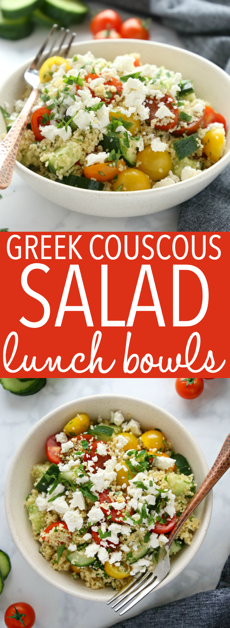These Greek Couscous Salad Lunch Bowls are packed with veggies, making them the perfect healthy choice for lunch at home or work! Recipe from thebusybaker.ca! #mealprep #lunchprep #worklunch #greeksalad via @busybakerblog