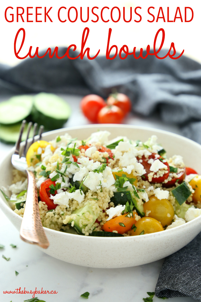 Greek Couscous Salad lunch bowls easy lunch recipe