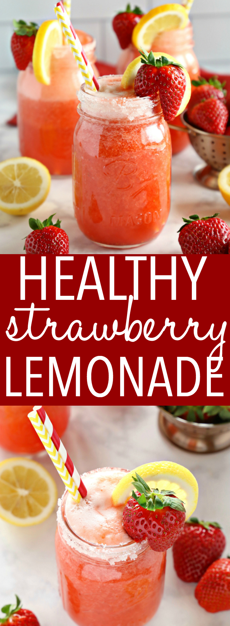This Healthy Strawberry Lemonade is the perfect naturally-sweetened refreshing drink for summer! It's made from blended strawberries, fresh lemon juice and honey, so it's the perfect healthy refreshment for warm days and summer parties! Recipe from thebusybaker.ca! #healthylemonade #sugarfreelemonade #diabeticlemonade via @busybakerblog