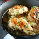 Skillet Pesto Caprese Stuffed Chicken