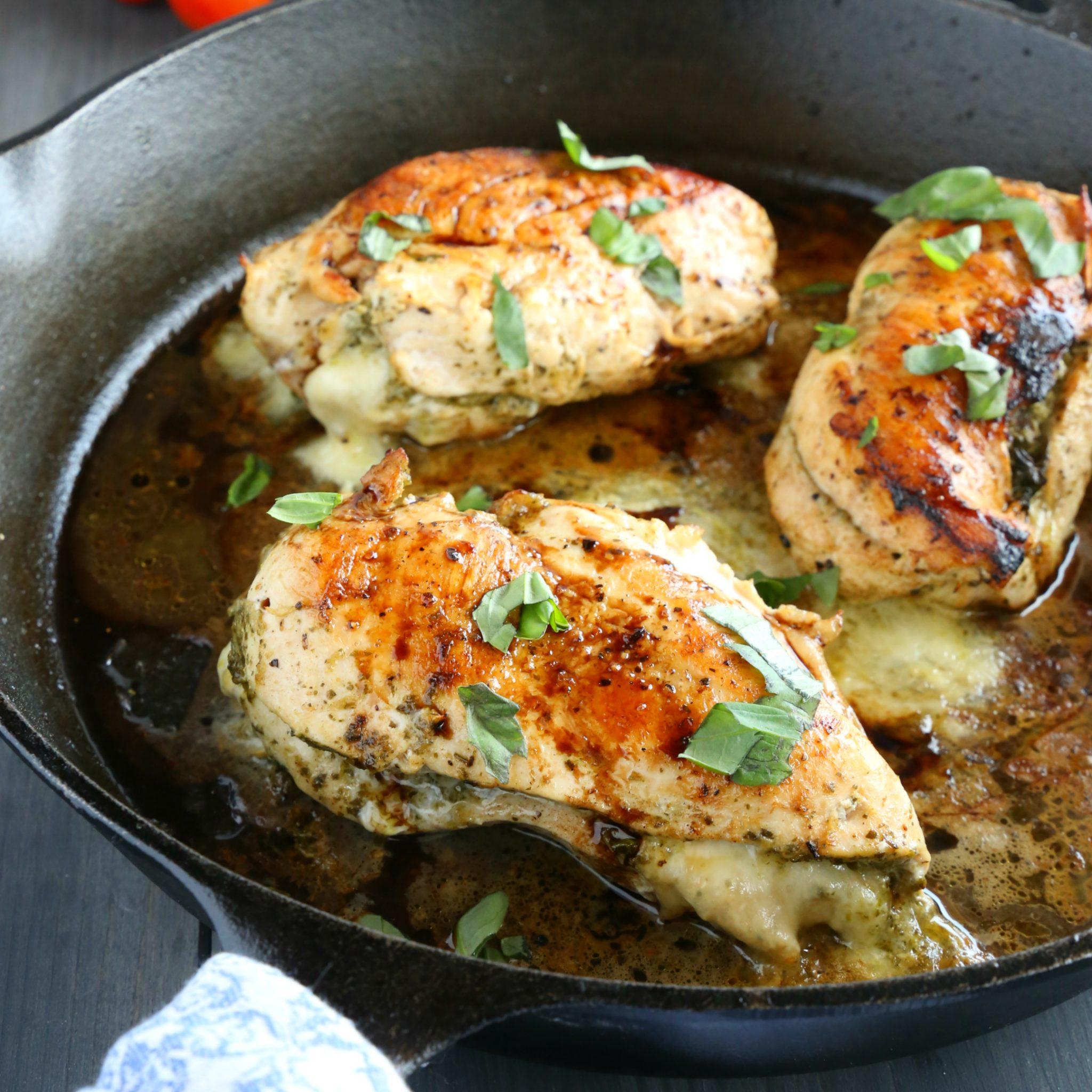 Skillet Pesto Caprese Stuffed Chicken The Busy Baker