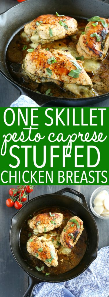 Skillet Pesto Caprese Stuffed Chicken Breasts Pinterest