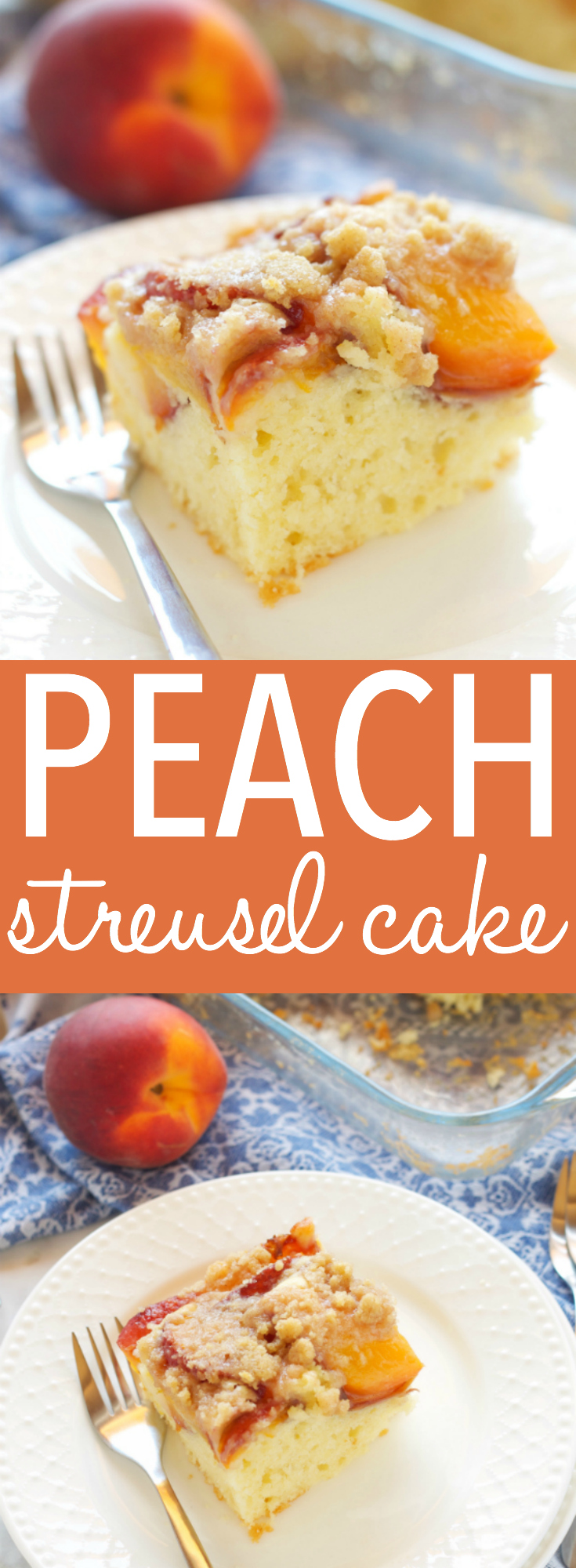 This Peach Streusel Cake is the perfect summer dessert with a tender cake base and a delicious streusel topping - make it with fresh or canned peaches! Recipe from thebusybaker.ca! #peachcake #easypeachcake #streuselcake #summerdessert