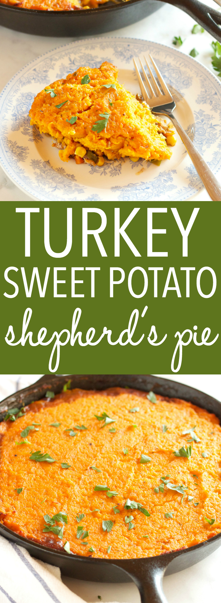 This Turkey Sweet Potato Shepherd's Pie is a delicious and healthy spin on the traditional British Shepherd's Pie made with lean turkey meat and sweet potatoes! It's the perfect family meal made in only one skillet, in 40 minutes or less! Recipe from thebusybaker.ca! #easyshepherdspie #healthymeal #healthyshepherdspie via @busybakerblog