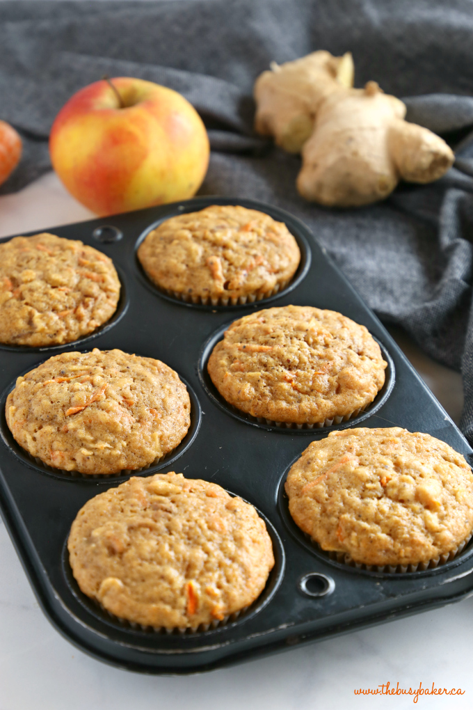 Apple Carrot Ginger Muffins in Muffin tin