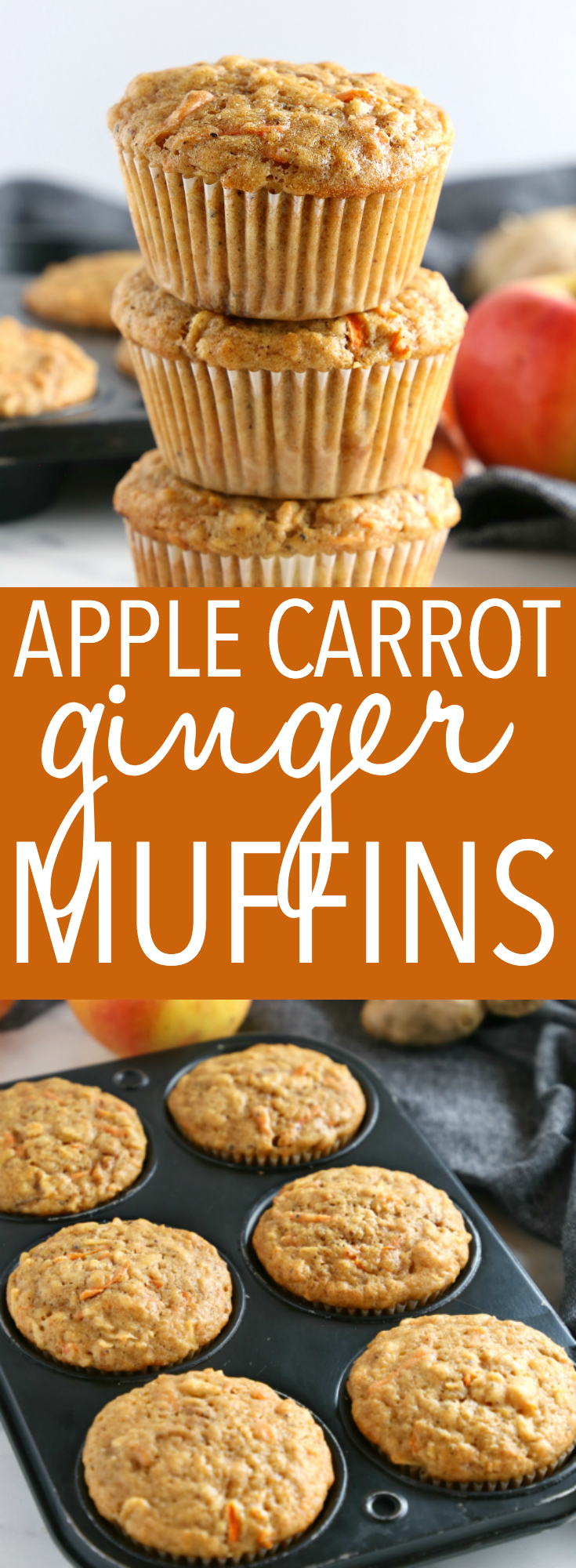 These Apple Carrot Ginger Muffins are the perfect healthier snack packed with fruit and veggies! And they're so easy to make in only one bowl! Recipe from thebusybaker.ca! #applecarrotmuffins #easymuffinrecipe #carrotgingermuffins via @busybakerblog