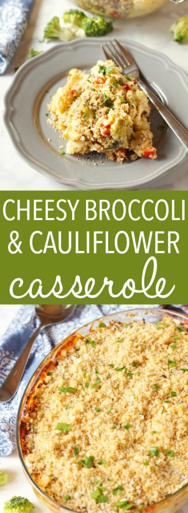 Cheesy Broccoli Cauliflower Casserole Pinterest Pin