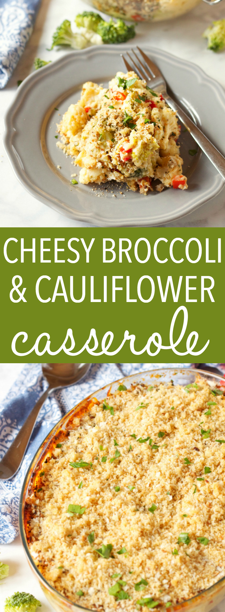 This Cheesy Broccoli Cauliflower Casserole is the perfect side dish for the holidays or any occasion! Made with tons of fresh veggies and an easy homemade cheese sauce, and baked to comfort food perfection! Recipe from thebusybaker.ca! #holidaysidedish #easysidedish #broccolicheesecasserole via @busybakerblog