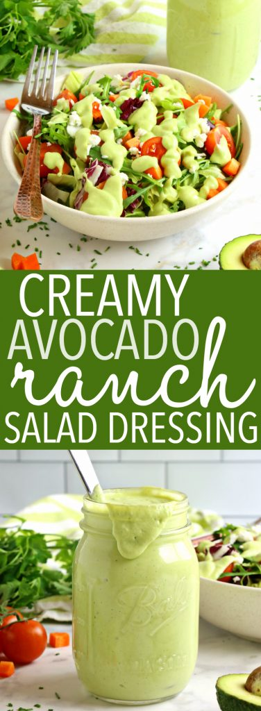 Healthy Creamy Avocado Ranch Salad Dressing Pinterest Collage