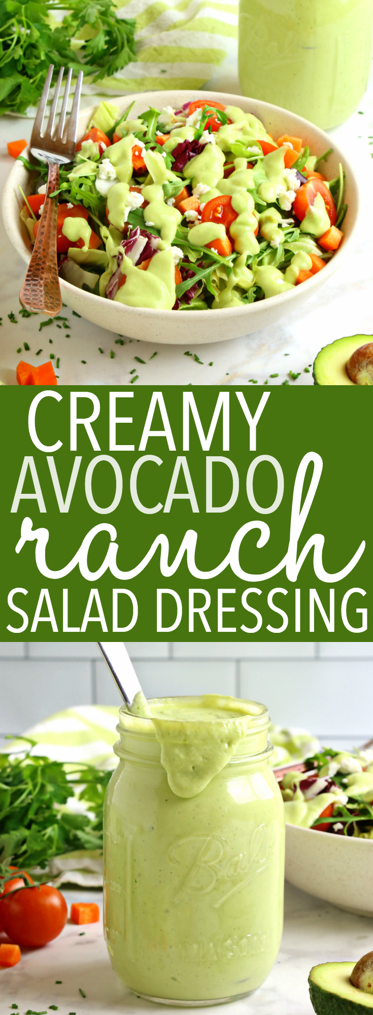 This Healthy Creamy Avocado Ranch Salad Dressing is the perfect alternative to store-bought ranch dressing! It's full of healthy fats, lean protein and packed with delicious ranch flavour! And it's easy to make! Recipe from thebusybaker.ca! #homemaderanch #avocadoranch #healthyranchdressing #homemaderanch