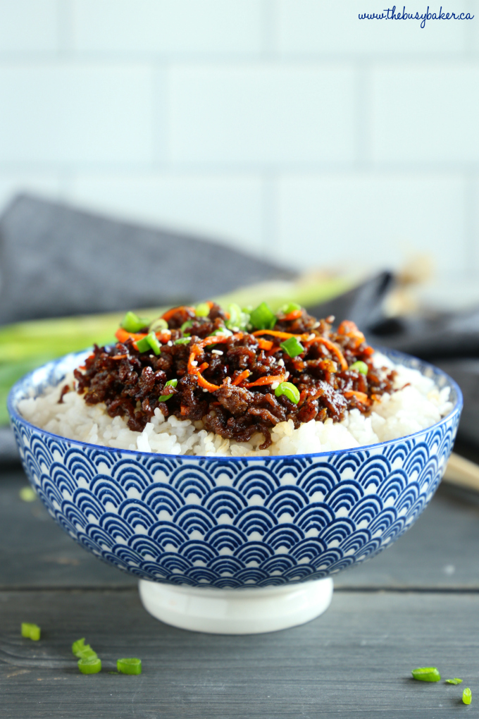 Easy Korean Beef Rice Bowls in blue bowl