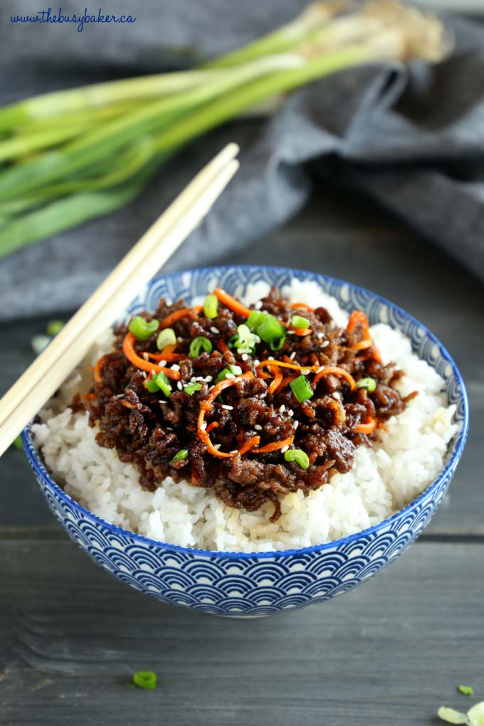 Easy Korean Beef Rice Bowls with chopsticks in blue bowl