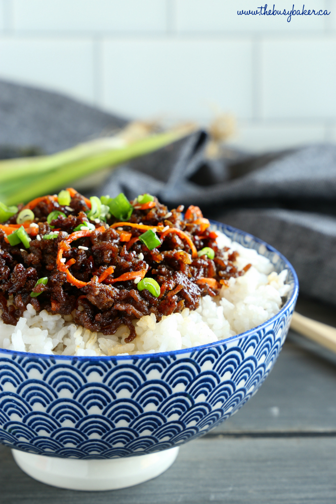 Easy Korean Beef Rice Bowls with carrots and green onions