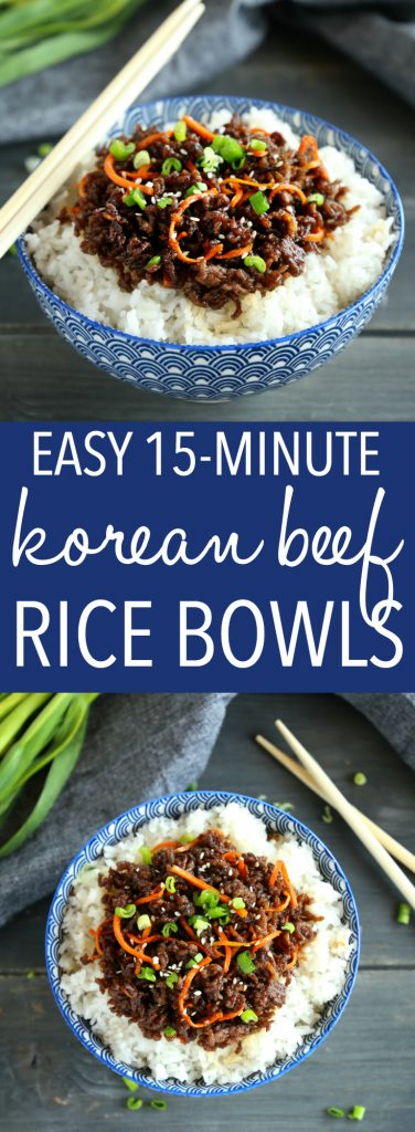 Easy Korean Beef Rice Bowls 15 minute recipe Pinterest