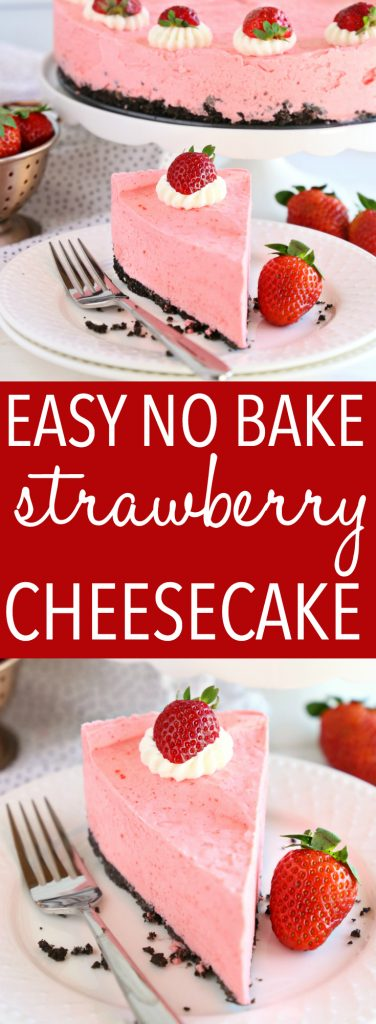 Easy No Bake Strawberry Cheesecake Pinterest Collage
