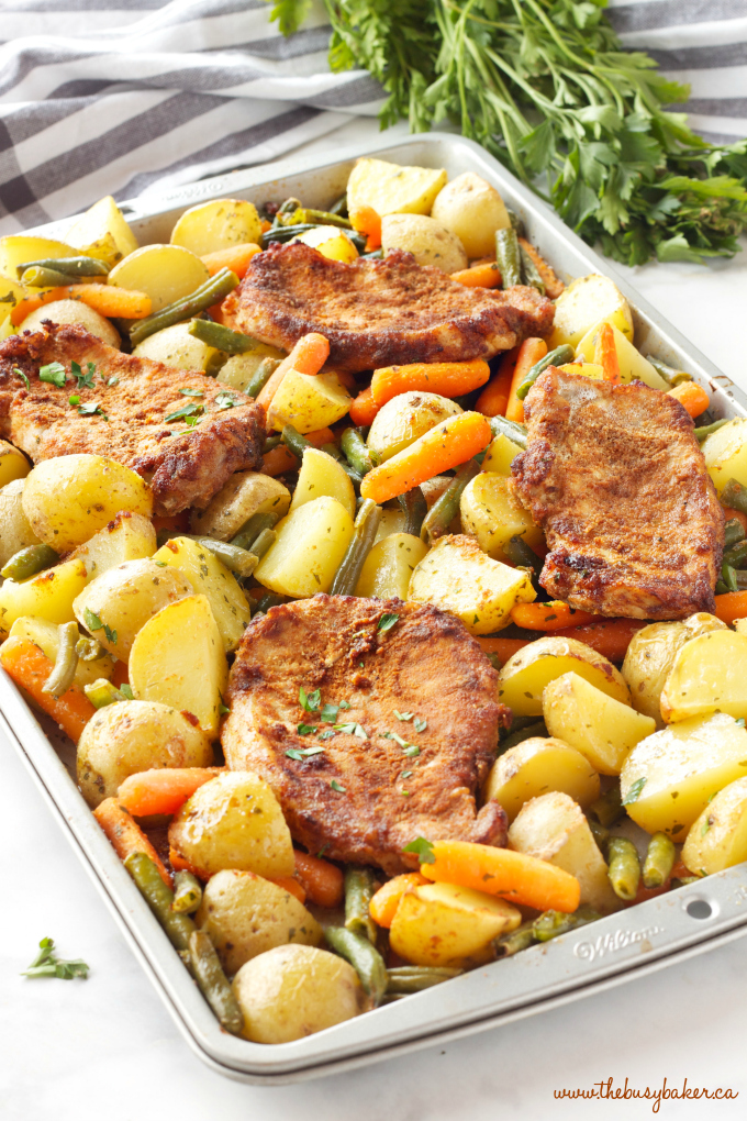 Easy Pork Chop Sheet Pan Dinner with 4 pork chops and herbs