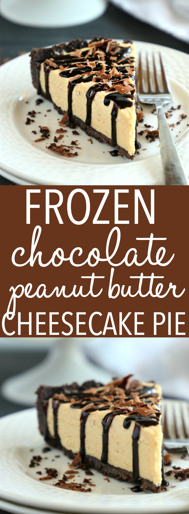 This Frozen Chocolate Peanut Butter Cheesecake Pie is the best ultra-creamy summer dessert for chocolate and peanut butter lovers! Make it in minutes with only a few simple ingredients!! Recipe from thebusybaker.ca! #chocolatepeanutbutterdessert #summerdessert #easysummerdessert #frozenpie via @busybakerblog