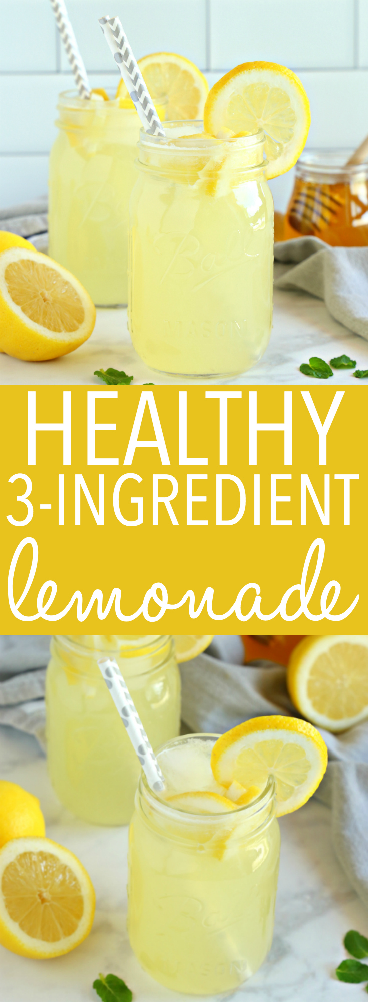 This Healthy 3-Ingredient Lemonade is a delicious all natural summer drink that's free of refined sugars and made with only 3 simple ingredients! Recipe from thebusybaker.ca! #healthylemonade #healthysummerdrink #weightwatcherslemonade via @busybakerblog