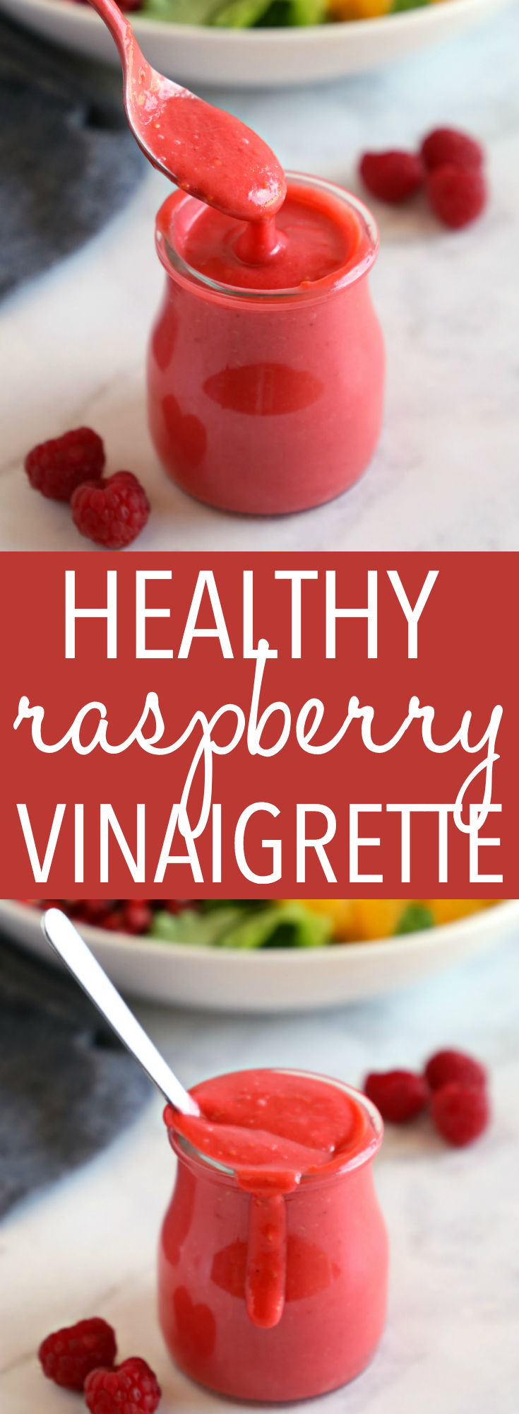 This Healthy Raspberry Vinaigrette Salad Dressing is the perfect addition to any fresh summer salad, and it's made with only 4 simple ingredients! Recipe from thebusybaker.ca! #raspberryvinaigrette #easysaladdressing #homemadevinaigrette via @busybakerblog