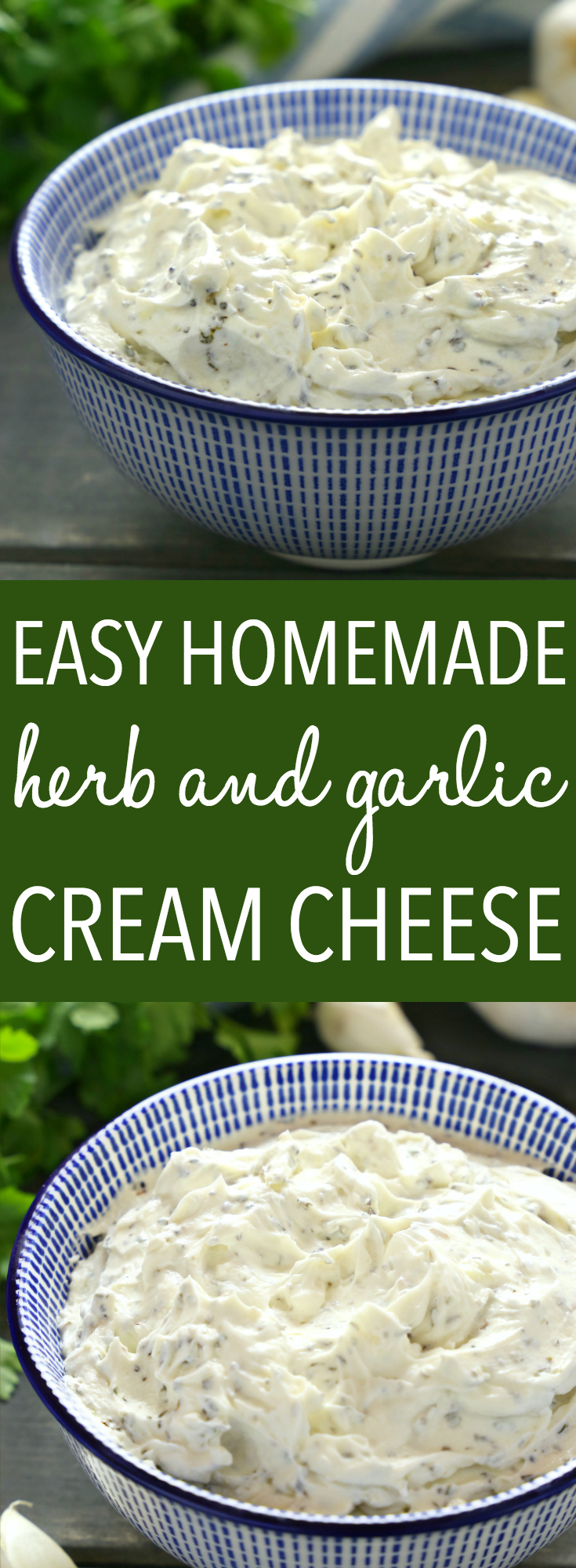 This Easy Homemade Herb and Garlic Cream Cheese is perfect for spreading on toast, bagels or crackers, and it makes a great appetizer! Skip the grocery store and make it yourself with only 5 basic ingredients! Recipe from thebusybaker.ca! #homemadecreamcheese #easyherbandgarliccreamcheese #easyappetizerrecipe  via @busybakerblog