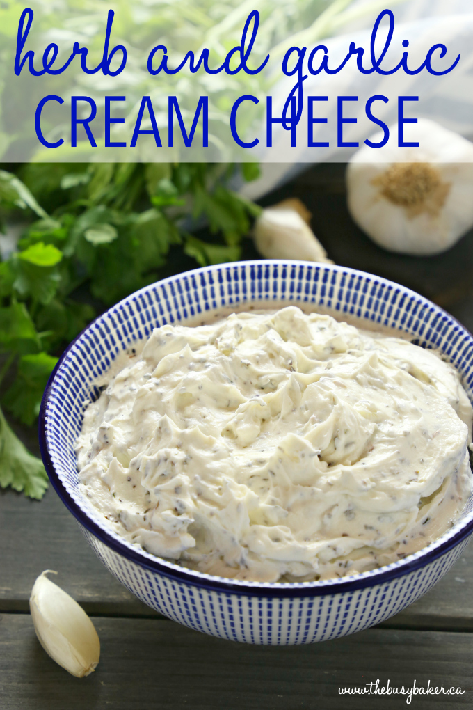 Easy Herb and Garlic Cream Cheese Spread in bowl with text