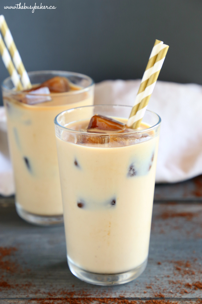 Healthy Iced Coffee with coffee ice cubes and gold straws
